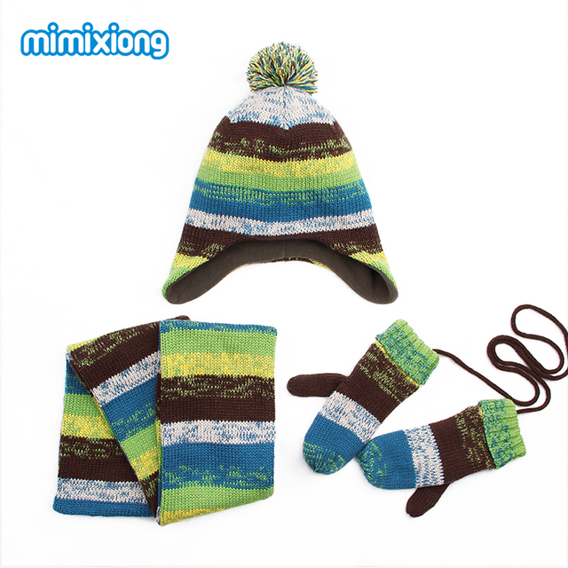 0fb5cab7d75 Winter Warm Children Hat Scarf Mittens Set Autumn Stripes Knit Baby Kids  Beanie Caps Neck Warmer Gloves Suits For Boys Girls 3pc