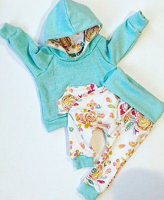 2018 Autumn Baby Girls Hooded Sweat Shirt Tops+Floral Pants 2pcs Outfits Set