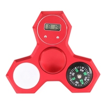 2017 Special Design LED Compass Alloy Finger Hand Spinner + Digital Watch Fingertip Anti-stress Gifts Gyro Toys For Kids Adult