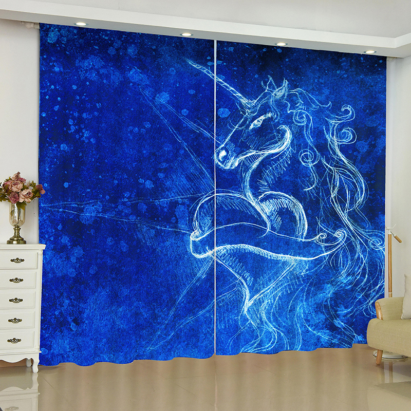 Image 2 - unicorn curtains for window unicorn Pegasus White horse blinds finished drapes window blackout curtains parlour room blinds-in Curtains from Home & Garden