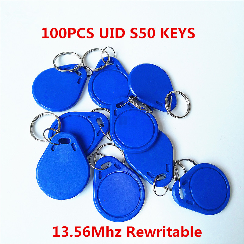 100Pcs/lot 13.5MHZ UID Changeable MF S50 1K IC Keys Keyfobs Token Tags S50 NFC Clone Copy Back door Rewritable Blank Magic Card 5pcs lot 13 5mhz uid changeable mf s50 1k nfc card mf1 s50 clone copy back door rewritable blank rfid card chinese magic card