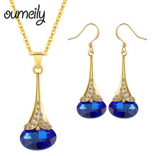 OUMEILY Jewelry Sets Dubai Women African Beads Jewelry Set in Gold Color Nigerian Wedding Jewelry Sets Crystal Jewellery Set(China)