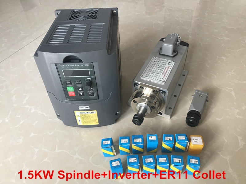 цена на RU delivery 1.5KW Air Cooled Spindle Motor CNC Machine Tool Spindle + 220V Inverter VDF + 1set Er11 Collet Milling Machine
