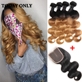 4 Bundles With Closure Peruvian Virgin Hair Body Wave With Closure 1b 27 Blonde Hair With Closure Ombre Human Hair With Closure