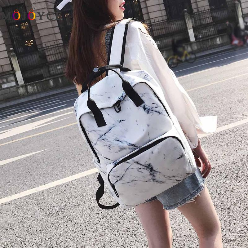 Japan Style Large Capacity Women Canvas Back Pack Marble Stone Pattern Teenager School Backpack Travel Casual Rucksack