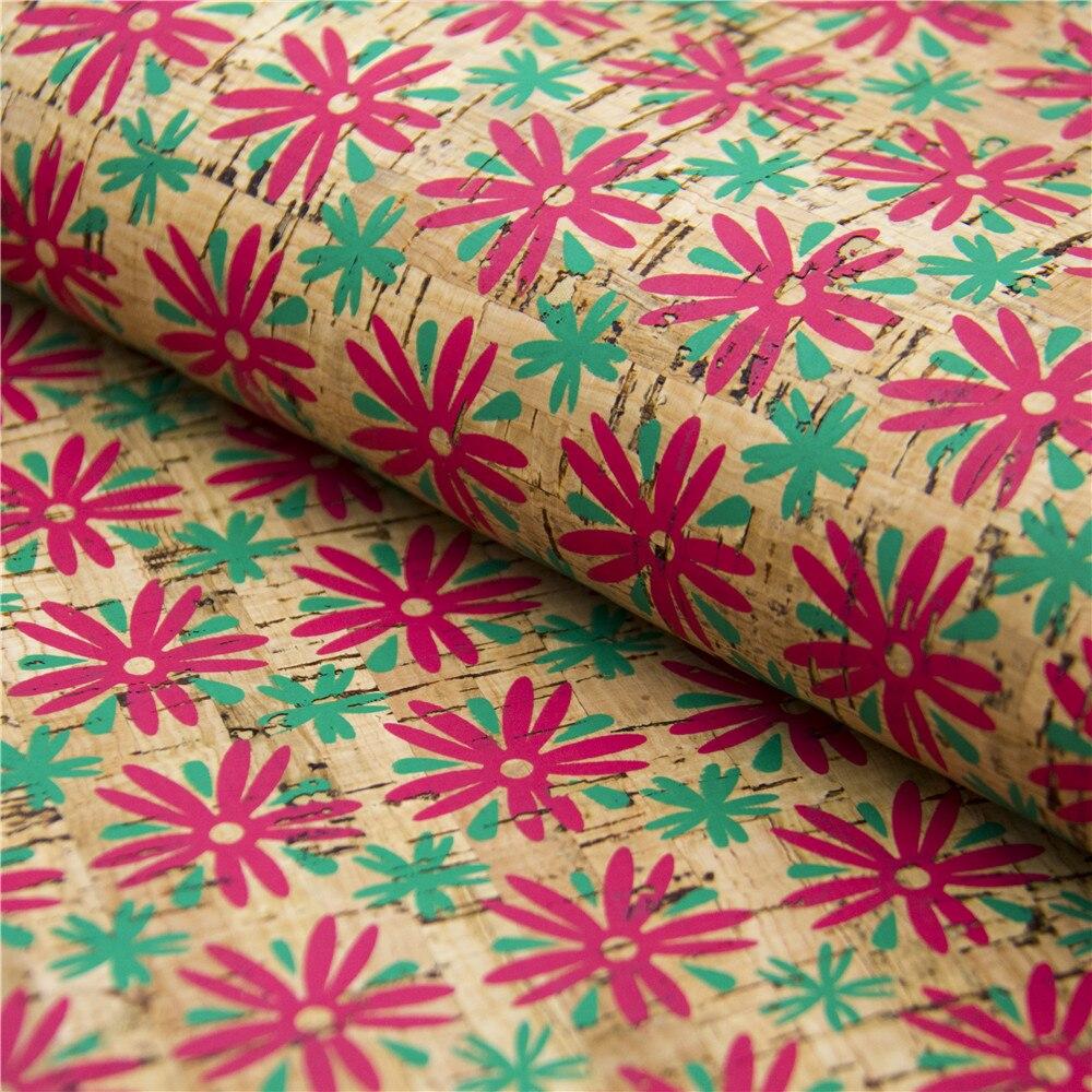 Tissu de liège 68*50 cm avec fleur en cuir de liège Portugais Matériau naturel pour la main fournir Kork corcho Cof-73