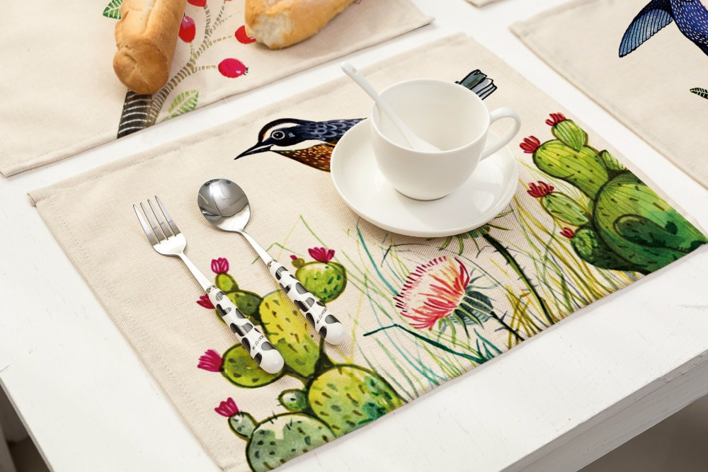 SunnyRain 4/6 Pieces Linen Cotton Birds Table Cloth Placemat Sets Table Decoration Table Runners 42x32cm-in Tablecloths from Home \u0026 Garden on Aliexpress.com ... & SunnyRain 4/6 Pieces Linen Cotton Birds Table Cloth Placemat Sets ...