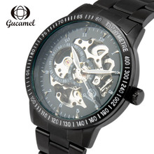 GUCAMEL luxury watch elegant black magic  automatic fashion stainless steel mechanical business mens