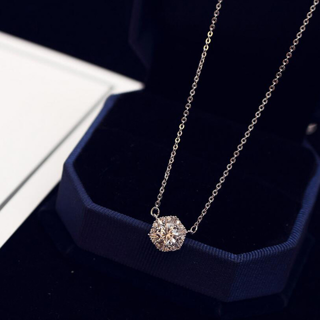 2017 Simple Rose Gold Color Necklace Zircon Short Pendant Necklace