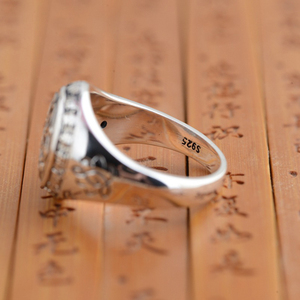 Image 4 - BALMORA Real 925 Sterling Silver Buddhism Retro Spinner Stacking Rings for Women Men Couple Six Words Mantra Fashion Jewelry