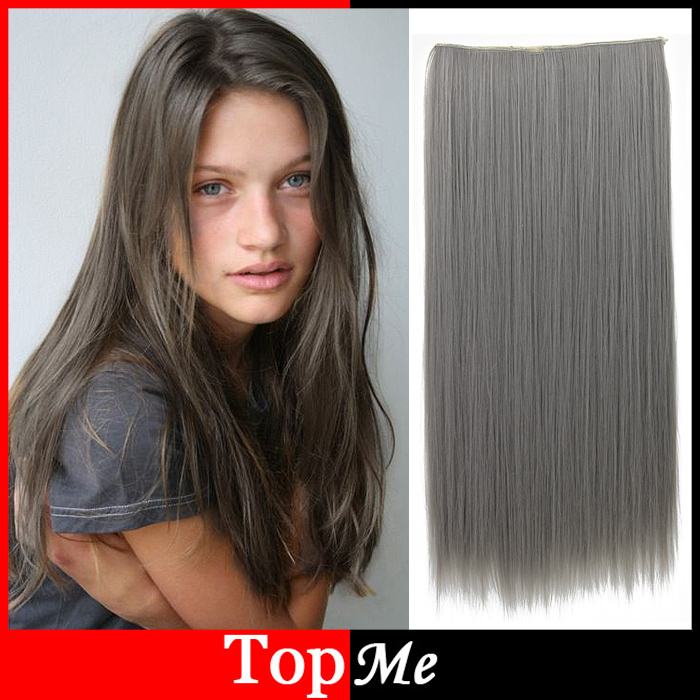 Women Hair Extensions Dark Grey Color High Tempreture Long Natural ...