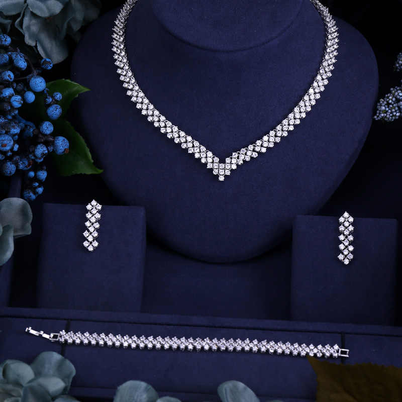 CLEAR BEST QUALITY BRILLIANT CRYSTAL ZIRCON EARRINGS AND NECKLACE JEWELRY SET WEDDING DRESS ACCESSARIES