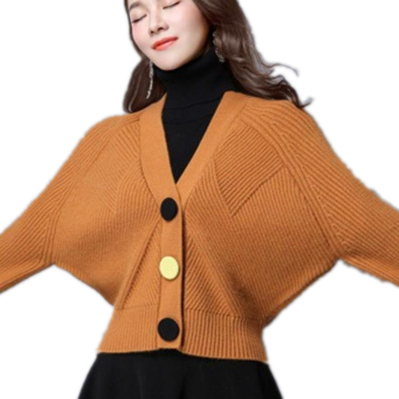 new Sweaters 2017 Women loose knit cardigan jacket female bat sweater