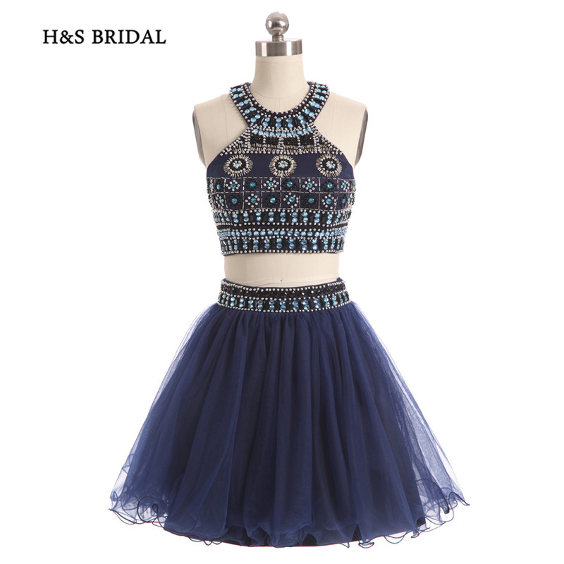 H&S BRIDAL Navy Colorful Beaded Halter Two Pieces Short   Prom     Dresses   Girls Sexy Boho Style Cocktail Party Gowns