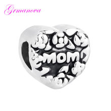 Heart-shaped mother flower mother's day charm beads DIY jewelry classic popular Fit Pandora Bracelet Women's DIY Jewelry(China)