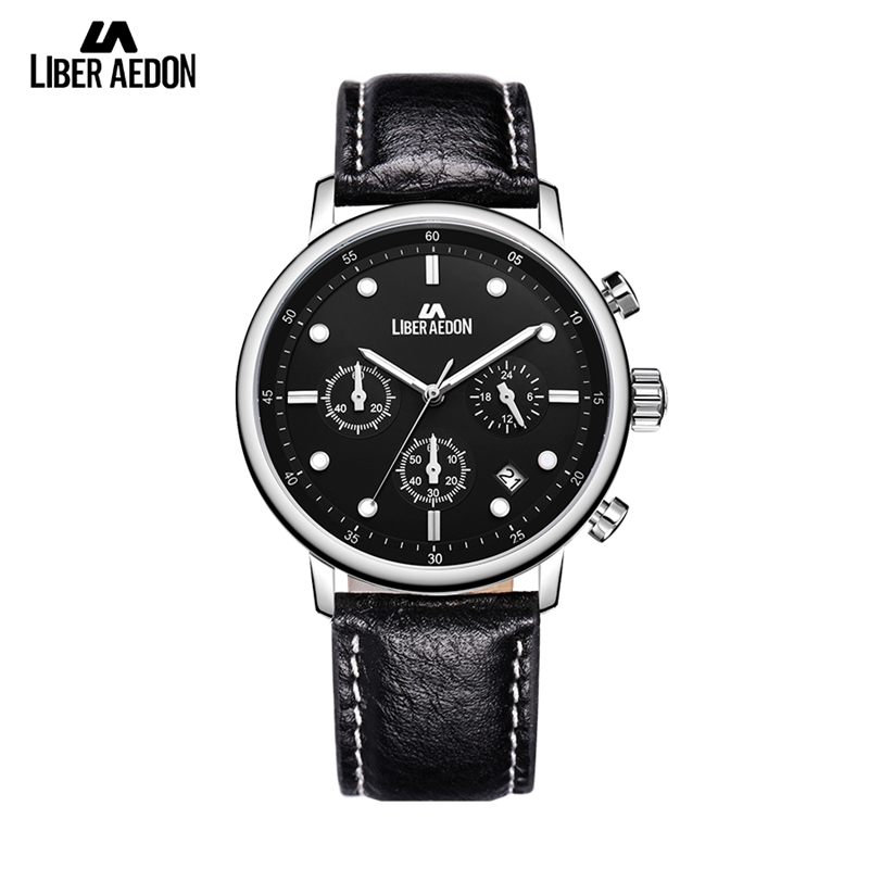 Liber Aedon Fashion Men Watches Black Dial Date Display Quartz Analog Watch Waterproof Luxury Leather Wristwatch Top Brand Gift north fashion mens watches top brand luxury watch men gold leather analog display date men s waterproof quartz watch for men