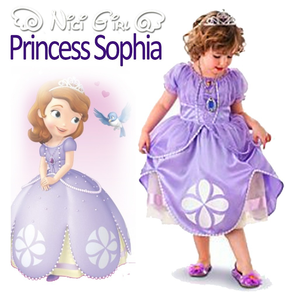 Sofia Princess Dress Kids Cosplay Costumes Girls New Arrival: 2015 Kids Girls Sophia The First Princess Dress Petals