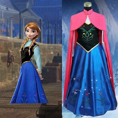 Caldo Xmas Principessa Congelato Anna Adulto Donna Cosplay Abito Costume Cosplay