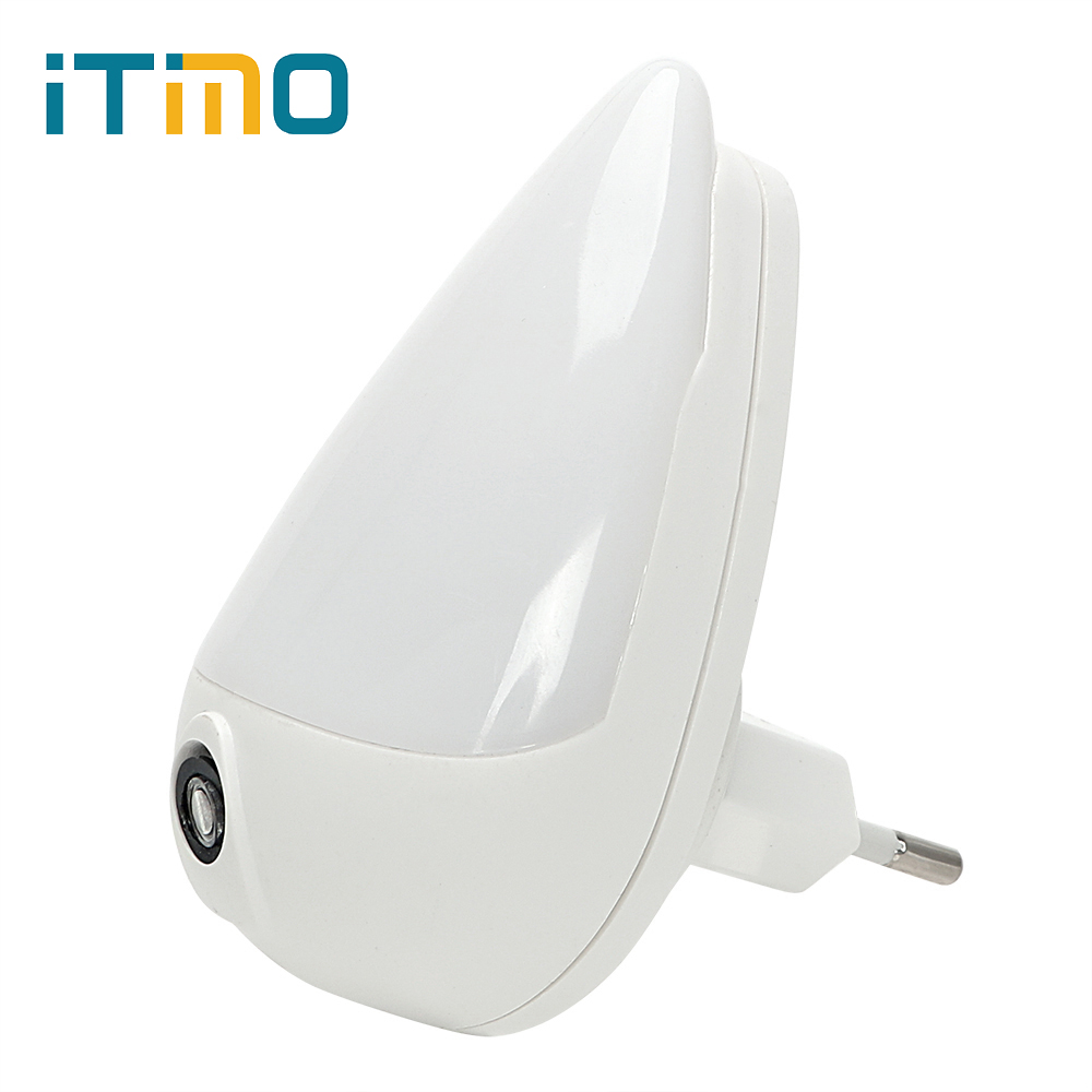 ITimo 90 Degree Rotation Smart Light Sensor Water Drops EU Plug LED Night Light For Children Bedroom Wall Socket Lamp