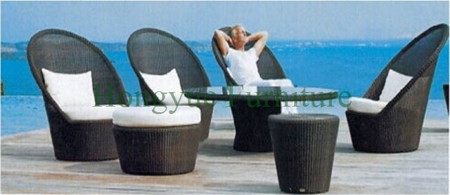 De color marrón jardín mimbre sofá de respaldo alto juego de muebles