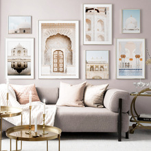 Morocco Door Taj Mahal Wall Art Canvas Painting Nordic Posters And Prints Classic Building Pictures For Living Room Decor