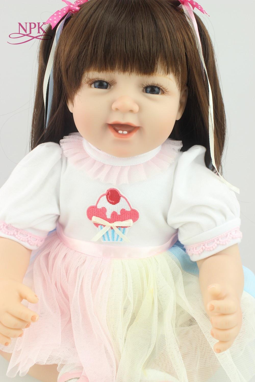 Oyuncaklar ve Hobi Ürünleri'ten Bebekler'de NPK 55 cm sevimli gülümseme Bebes Reborn Bebek Yumuşak Silikon Erkek Kız Oyuncak Yeniden Doğmuş Bebek Bebek Çocuklar için Hediye bonecas yeniden doğmuş'da  Grup 1