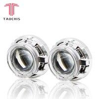 TAOCHIS APP LED Angel Devil Eyes Bi xenon Lens Projector Headlight For Car Retrofit DIY W/ Daytime Running Lights 3.0'' H4