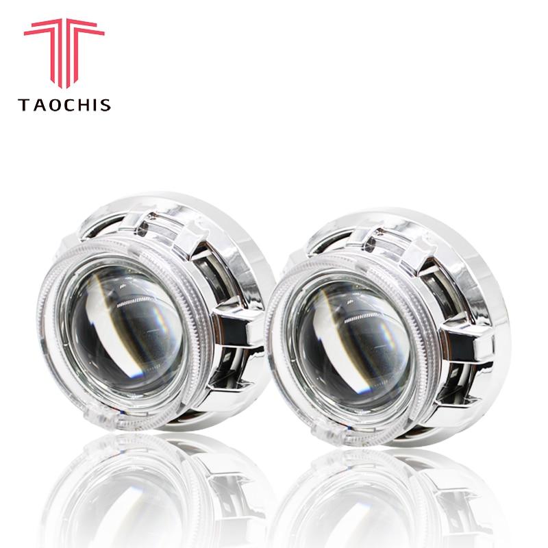 TAOCHIS APP LED ange diable yeux Bi xénon lentille projecteur phare pour voiture rénovation bricolage W/feux de jour 3.0 ''H4