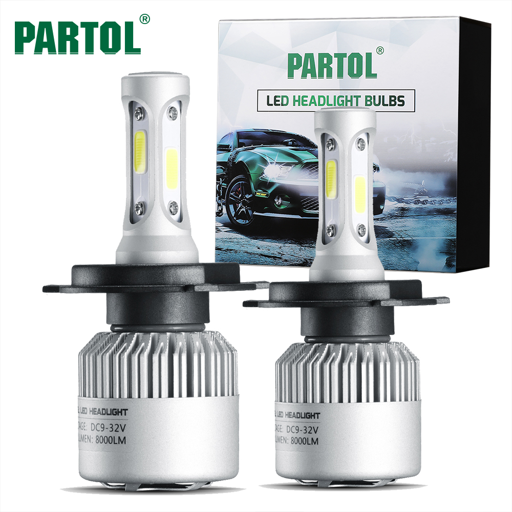 Partol S2 H4 COB LED Headlight 72W 8000LM Hi Lo Beam Car LED 9004 9007 H13 Headlights Bulb Automobile Headlamp Fog Light 12V 24V
