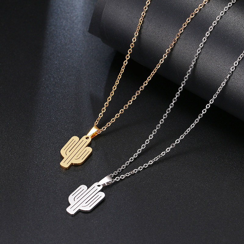 DOTIFI Stainless Steel Necklace For Women Lover's Gold And Silver Color Cactus Pendant Necklace Engagement Jewelry 4