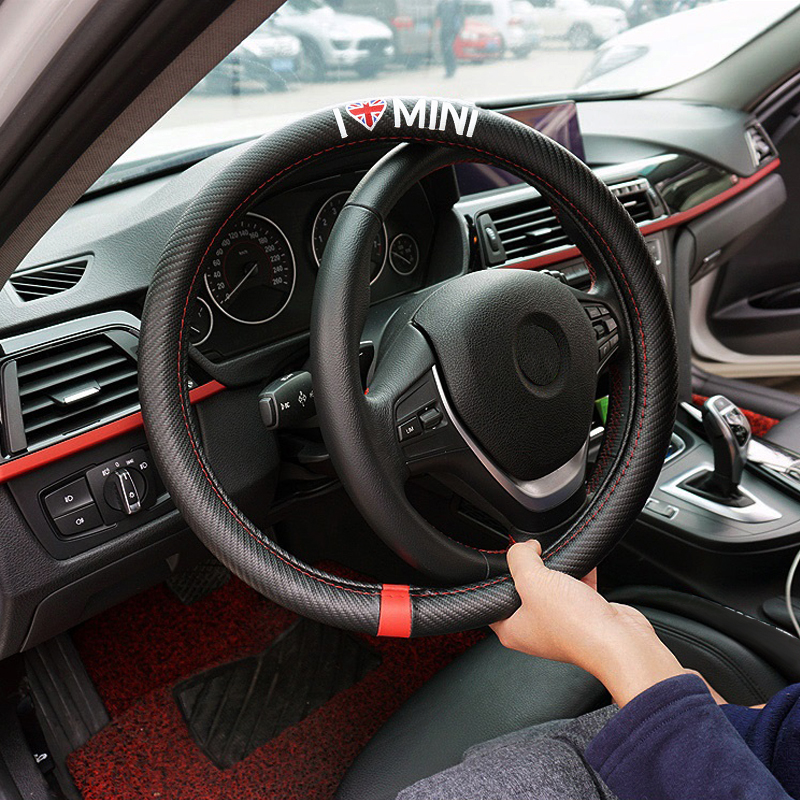 2x Car Steering Wheel Cover For BMW Mini Cooper Clubman Countryman R55 R57 R58 R59 R60 S JCW F54 F55 F56 F57 Car Accessories union jack car gear shift knob panel cover cap emblem stickers for mini cooper s one jcw f55 f56 f60 f57 f54 countryman clubman