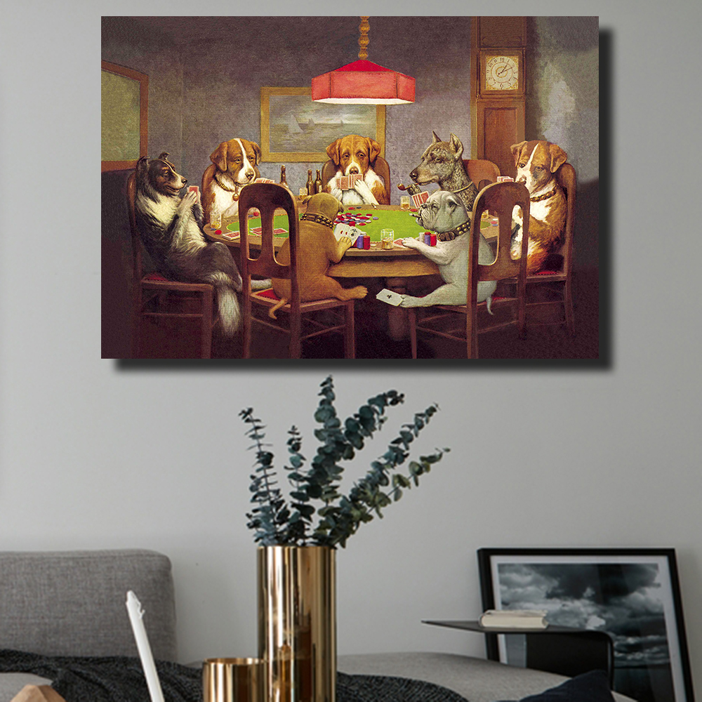 1 Pcs Decorative Picture Wall Art Canvas Prints Dogs Playing Poker Animal Oil Painting for Living Room Home Decor No Framed