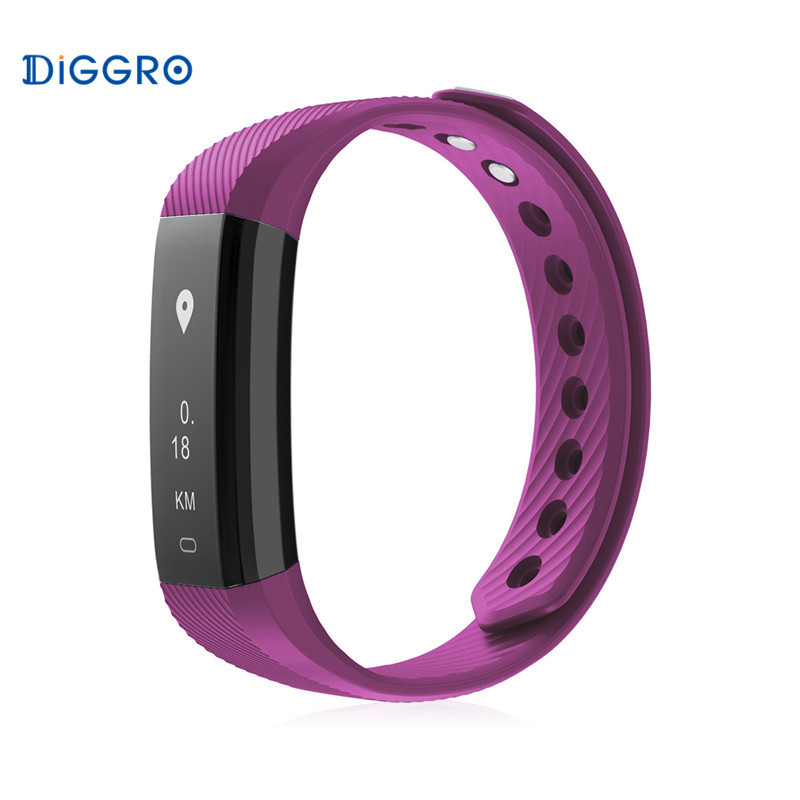 Bluetooth 4.0 Diggro ID115 LITE Sports Alarm Stop Smart Bracelet Pedometer Calorie Sleep ...