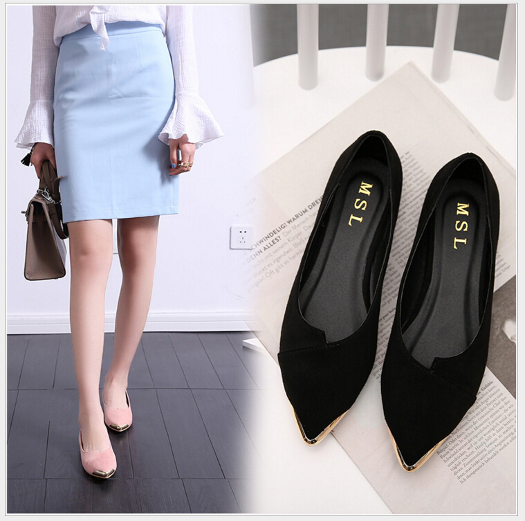 plus size 35-41 flat shoes woman fashion pointed toe shallow mouth flat shoes elegant women OL dress shoes  a21 big size 2016 spring fashion pointed shoes women flat shallow mouth candy colored women s shoes size foreign trade