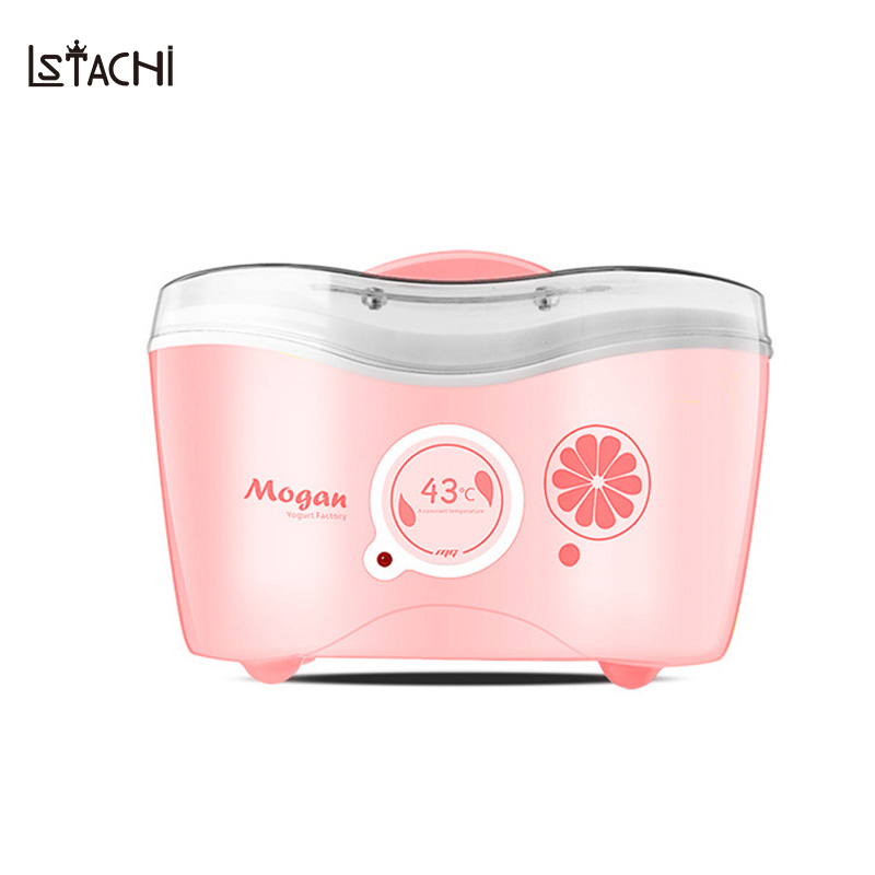 LSTACHi 1L Full Automatic Yogurt Natto Rice Wine Maker Household Fermentation Stainless Steel Cup with 4 Glass Cup Machine purple yogurt makers rice wine natto machine household fully automatic yogurt glass sub cup liner multifunctional kitchen helper