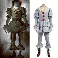 Stephen King's It Pennywise Косплэй костюм Джокера клоун костюм Косплэй взрослых Для мужчин Для женщин Хэллоуин террор костюм