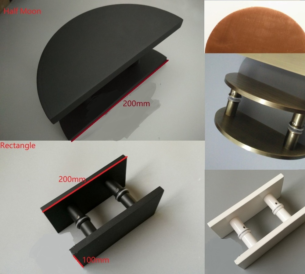 Solid Aluminum Square Round Double Side Modern Glass Door Pull Shower Box Handle Commercial Entrance White Black Bronze