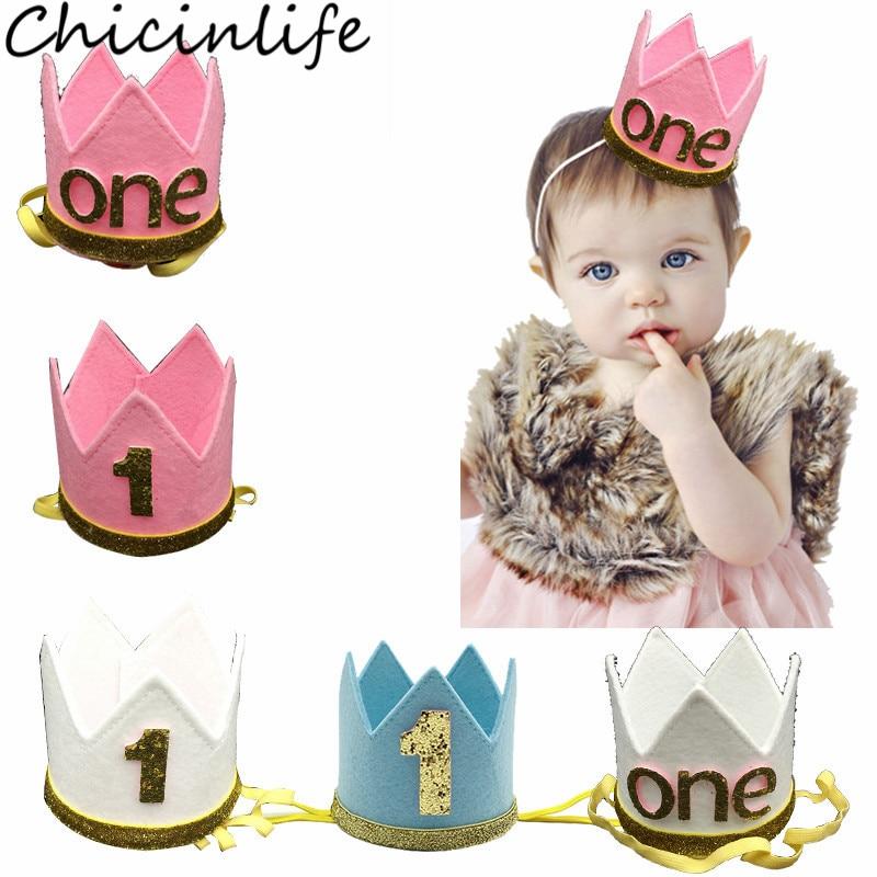 EG/_ Boy Girl Glitter Number Sequin Crown Headband Kids Birthday Party Headwear S