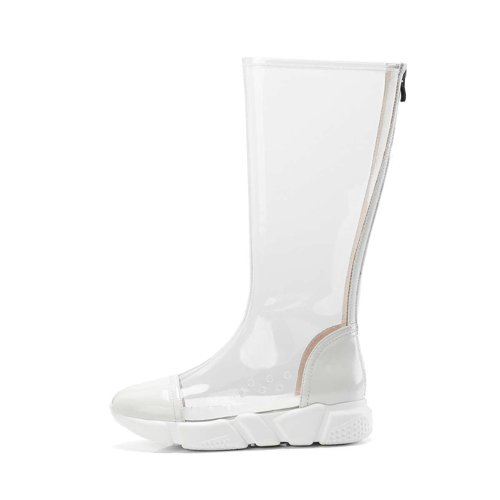 4075834df05dd 2019 Pvc Cuir Taille Chaussures Med L00 forme Tansparent Rock Ronde En Plus  Orteil Filles Plate Bottes ...