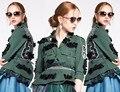 Дизайнер 2106 женщин осень зима мода письмо вышивка алмаз бисероплетение блестками короткие военные плиссированные куртка 1114