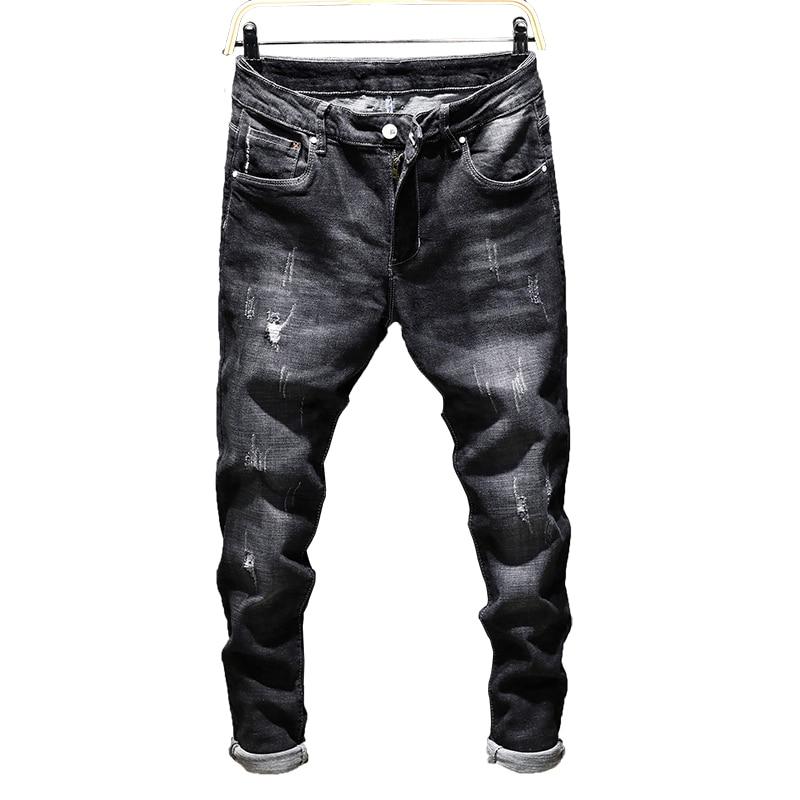 Good Quality Men's Black Skinny Jeans New Male Holes Slim Denim Long Jeans Men Solid Casual Pencil Pants Slim J