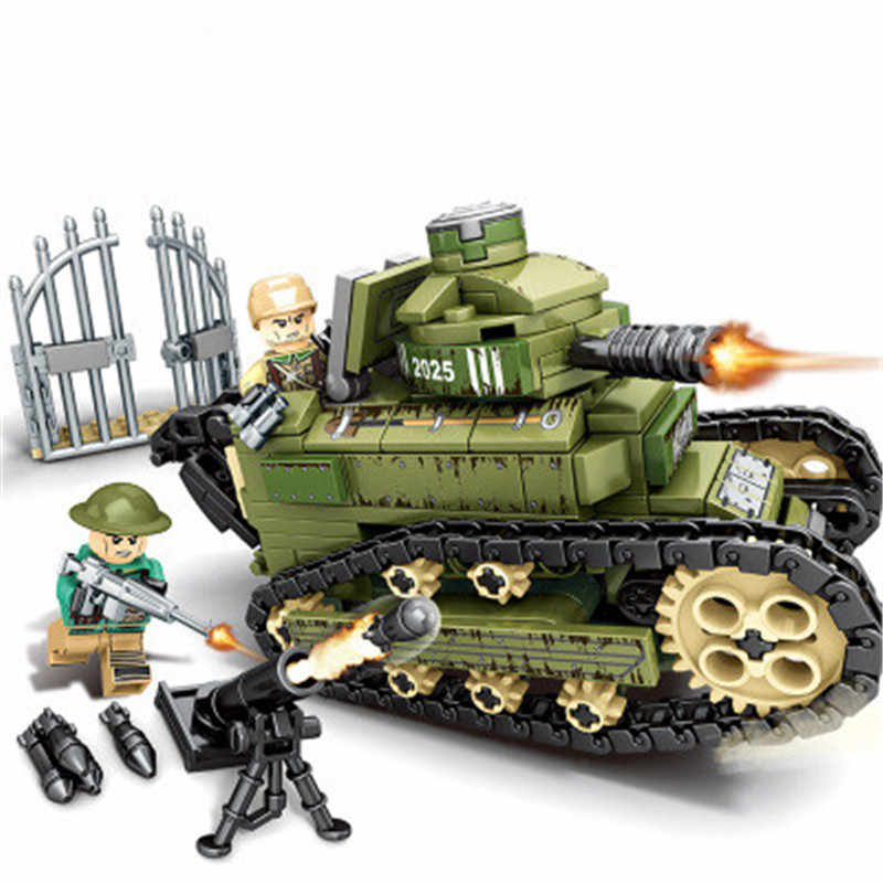 368PCS WW2 Military Renault FT17 Tank Tank Building Block compatible Legoings Tank Series Bricks Toys for Children Bricks Gift