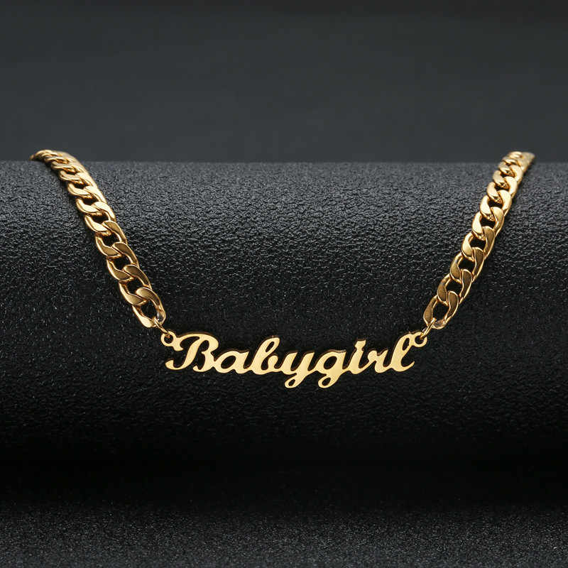 Personalized Custom Name Necklace Stainless Steel Statement Pendant & Necklace Custom Baby girl Name Jewelry For Women Gift