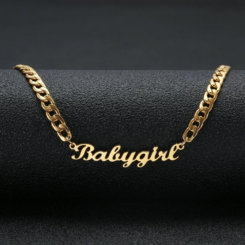 Personalized Name Halskette Edelstahl Erklärung Anhänger & Halskette Benutzerdefinierte Baby mädchen Name Schmuck Für Frauen Geschenk