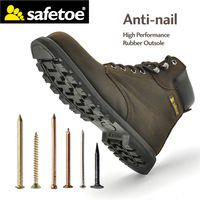 Safetoe Mens Work Boots Safety Shoes Trainers Steel Toe Brown Extra Wide Cow Leather Steel Plate