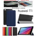 Cubierta de cuero lichi del soporte de la cubierta case funda para huawei mediapad t1 7.0 t1-701u tablet case + protector de pantalla de cine + stylus pen regalo