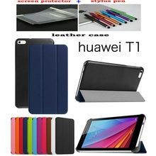 Funda de Cuero lichi Caso de la cubierta Del Soporte de La Cubierta funda Para Huawei MediaPad T1 T2 7.0 T1-701u caja de la Tableta + regalo libre