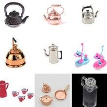 1/12 Миниатюрные аксессуары для кукольного домика, мини металлический чайник, имитация мебели, чайный горшок, кухонные модели, игрушки для украшения кукольного дома