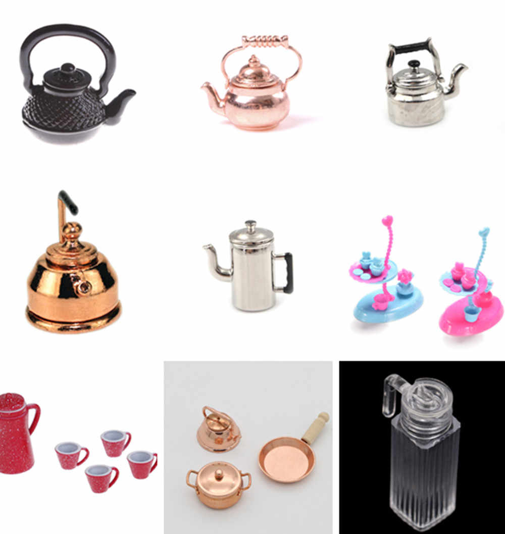 1/12 Dollhouse Miniature Accessories Mini Metal Kettle Simulation Furniture Tea Pot Kitchen Model Toys for Doll House Decoration