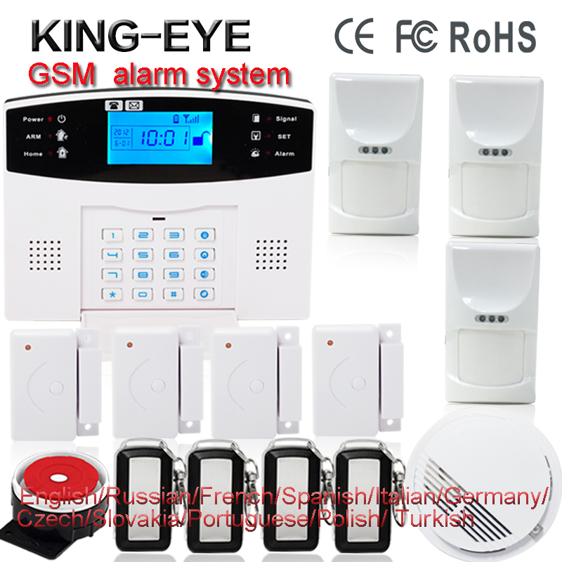 English/Russian/French/Spanish voice quad band GSM alarm system home security autodial phone remote control with smoke detector home security quad band gsm pstn alarm system w detector sensor kit remote control white